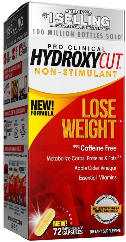 HYDROXYCUT PRO CLINICAL NO ESTIMULANTE 72 PASTILLAS